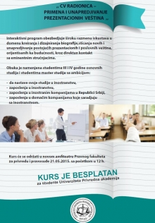 Besplatan kurs - CV Radionica